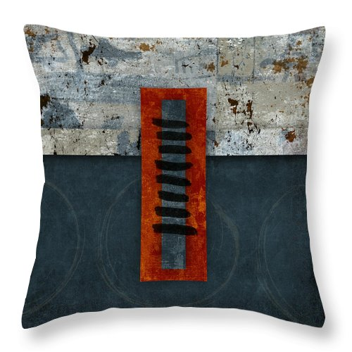 Red Throw Pillow featuring the photograph Fiery Red And Indigo One Of Two by Carol Leigh