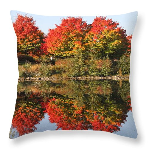Fall Throw Pillow featuring the photograph Fiery Reflections by Lauri Novak