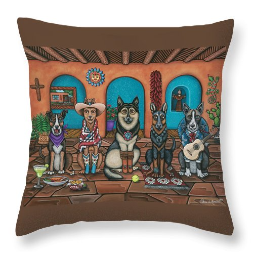 Dogs Throw Pillow featuring the painting Fiesta Dogs by Douglas Jones