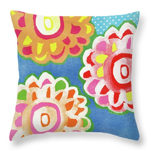 Flowers Throw Pillow featuring the mixed media Fiesta Floral 3- Art by Linda Woods by Linda Woods