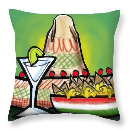 Fiesta Throw Pillow featuring the greeting card Fiesta by Kevin Middleton