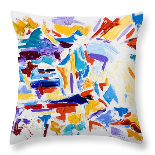 Abstract Yellow Throw Pillow featuring the painting Fiesta by Shannon Grissom