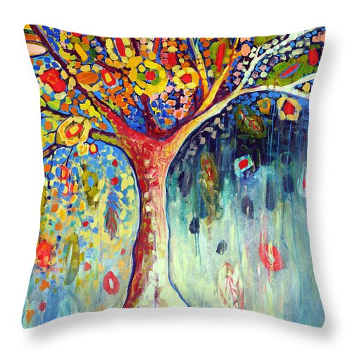 Tree Throw Pillow featuring the painting Fiesta Tree by Jennifer Lommers