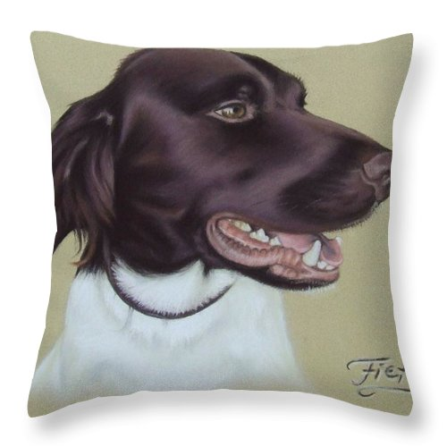 Dog Throw Pillow featuring the pastel Fiete by Nicole Zeug