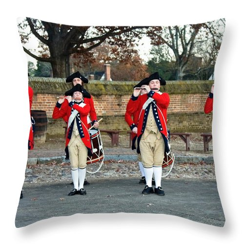 Fifes And Drums Throw Pillow featuring the photograph Fifes And Drums by Sally Weigand