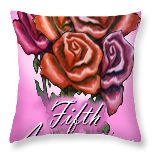 Fifth Throw Pillow featuring the greeting card Fifth Anniversary by Kevin Middleton