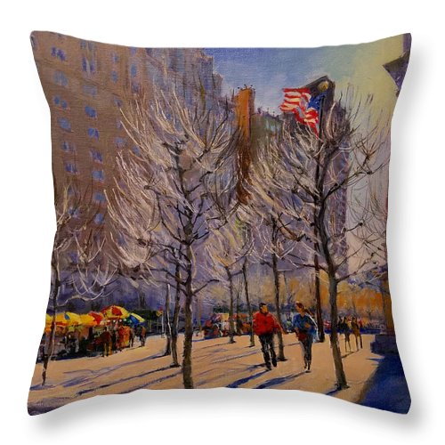 New York Throw Pillow featuring the painting Fifth Avenue - Late Winter At The Met by Peter Salwen