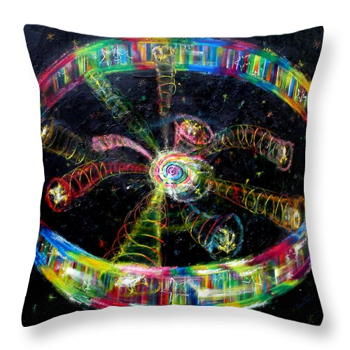 Scripture Throw Pillow featuring the painting Fifth Day Of Creation by Anne Cameron Cutri