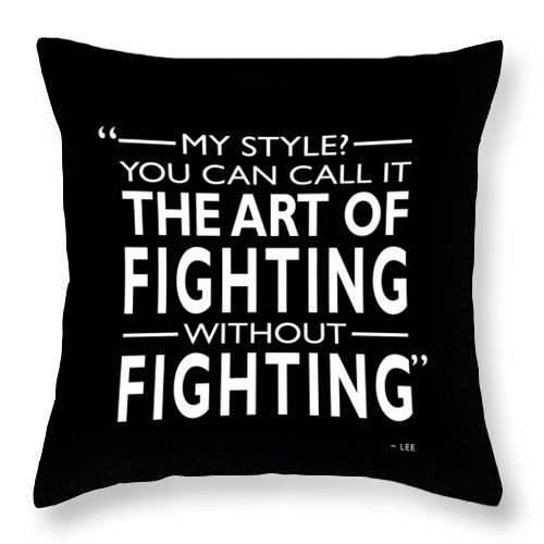 Bruce Lee Throw Pillow featuring the photograph Fighting Without Fighting by Mark Rogan
