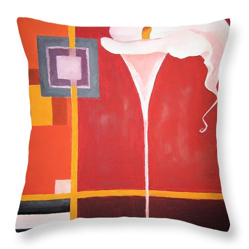 Flower Throw Pillow featuring the painting Figurativ Flower by Alban Dizdari