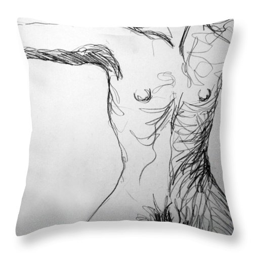 Figure Throw Pillow featuring the drawing Figure Drawing 5 by Nancy Mueller