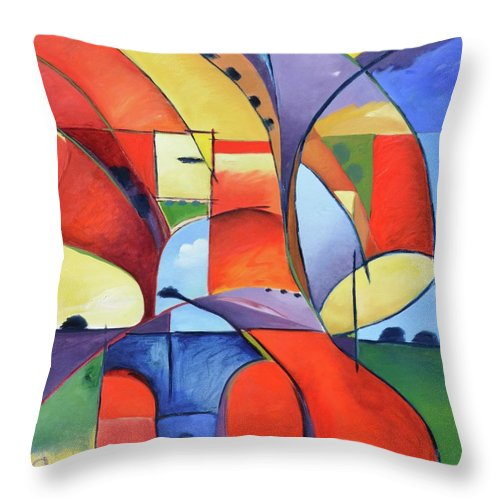 Landscape Throw Pillow featuring the painting Figure Landscape Abstract by Gary Coleman