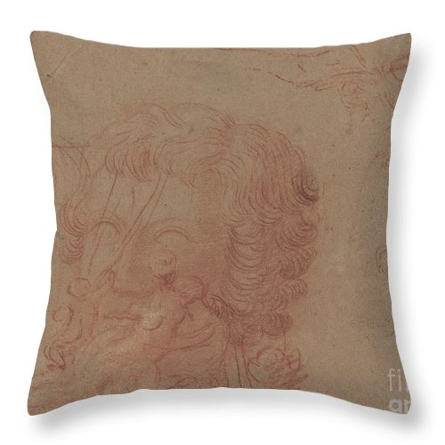 Throw Pillow featuring the drawing Figure Sketches And A Copy After A Sculpted Head [verso] by Antoine Watteau