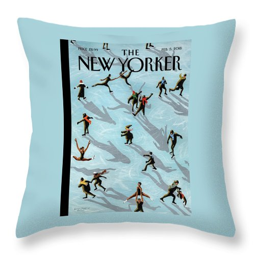 Figured Skaters Throw Pillow featuring the painting Figured Skaters by Mark Ulriksen