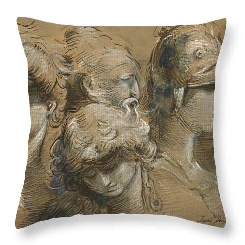 Classic Figures Throw Pillow featuring the painting Figures drawing by Juan Bosco