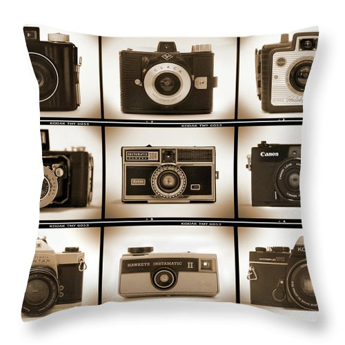 Vintage Cameras Throw Pillow featuring the photograph Film Camera Proofs 1 by Mike McGlothlen
