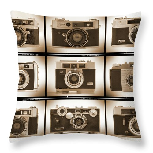 Vintage Cameras Throw Pillow featuring the photograph Film Camera Proofs 2 by Mike McGlothlen