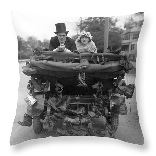 -weddings & Gowns- Throw Pillow featuring the photograph Film Still Wedding by Granger