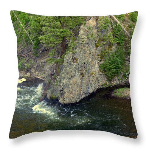 Firehole River Throw Pillow featuring the photograph Fin On The Firehole by Marty Koch