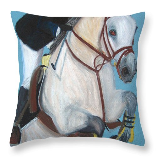 Equestrian Jumper Throw Pillow featuring the pastel Final Jump by Michael Lee