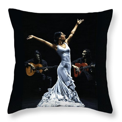 Flamenco Throw Pillow featuring the painting Finale del Funcionamiento del Flamenco by Richard Young