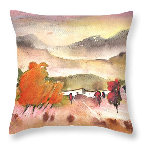 Travel Throw Pillow featuring the painting Finca In Spain by Miki De Goodaboom