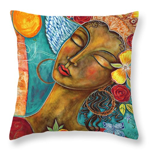 Bird Throw Pillow featuring the painting Finding Paradise by Shiloh Sophia McCloud