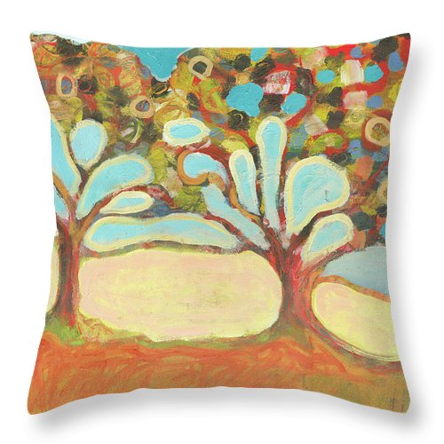 Tree Throw Pillow featuring the painting Finding Strength Together by Jennifer Lommers