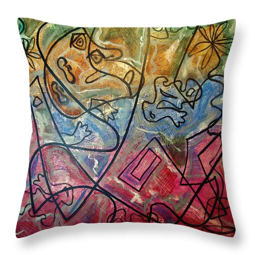 Modern Abstract Throw Pillow featuring the painting Finding Sun by W Todd Durrance