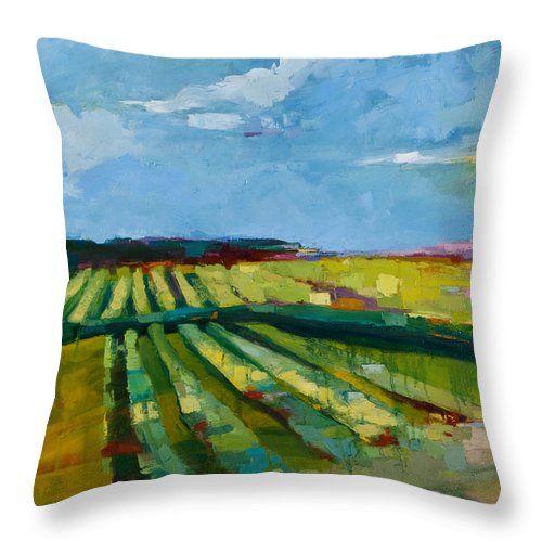 Landscape Throw Pillow featuring the painting Fine Fields by Michele Norris