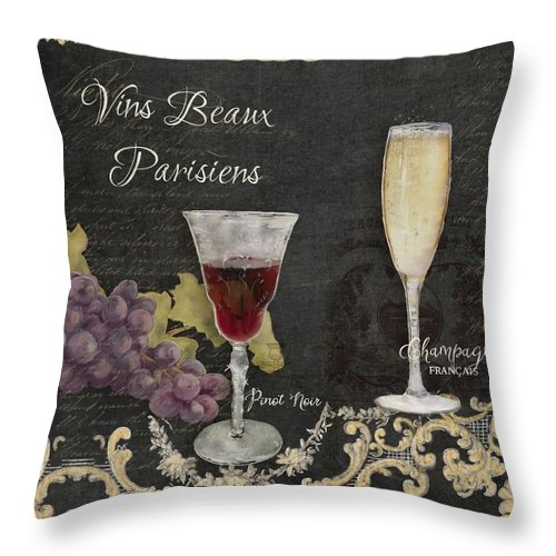 Chalk Throw Pillow featuring the painting Fine French Wines - Vins Beaux Parisiens by Audrey Jeanne Roberts