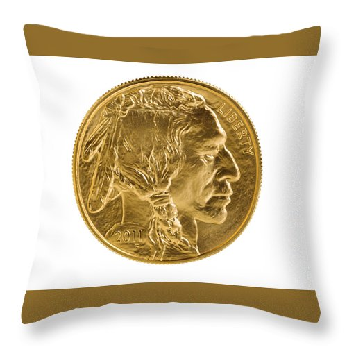 Gold Throw Pillow featuring the photograph Fine Gold Buffalo Coin On White Background by Thomas Baker