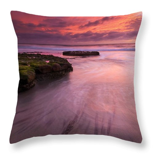 Sunset Throw Pillow featuring the photograph Fingers Of The Tide by Mike Dawson