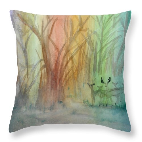 Rainbow Throw Pillow featuring the painting Finian's Rainbow by Donna Blackhall