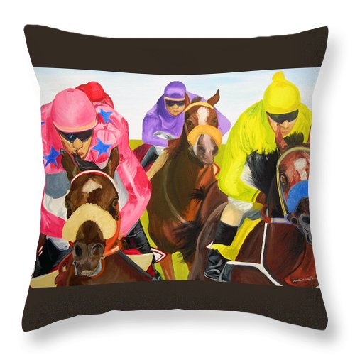 Horse Racing Throw Pillow featuring the painting Finish Line by Michael Lee