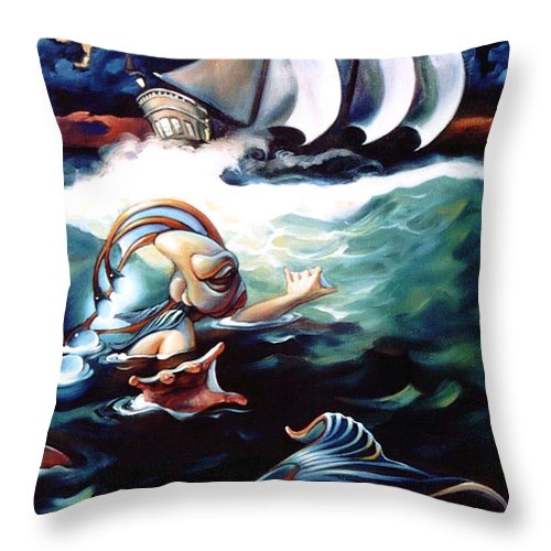 Seafarer Throw Pillow featuring the painting Finnegan's Quest by Patrick Anthony Pierson
