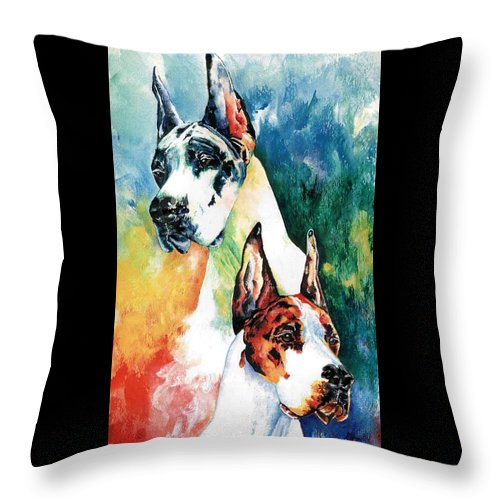 Great Dane Throw Pillow featuring the painting Fire And Ice by Kathleen Sepulveda