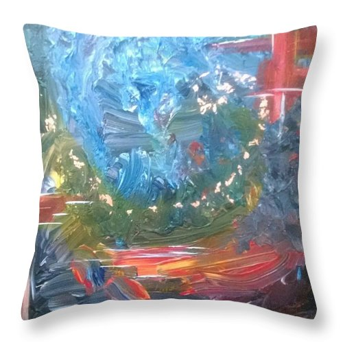 Abstract Throw Pillow featuring the painting Fire And Water by Sandra Belz