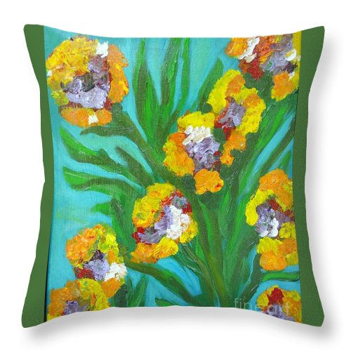 Flower Throw Pillow featuring the painting Fire Blossoms by Laurie Morgan