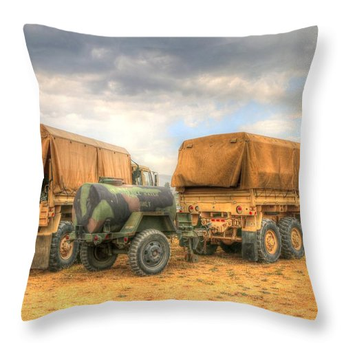 Fire Camp Throw Pillow featuring the photograph Fire Camp by Wild Fire