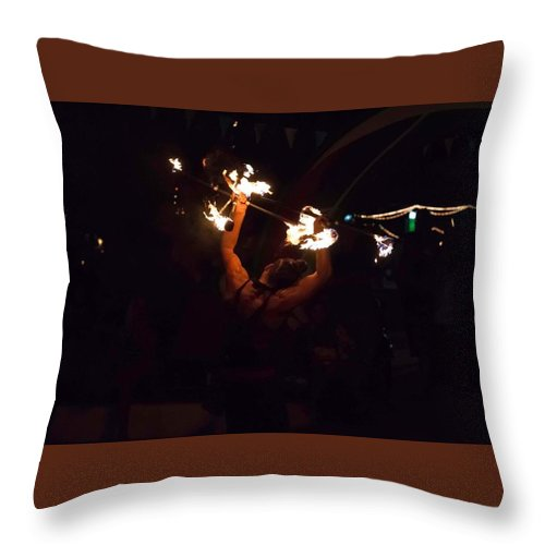 Night Throw Pillow featuring the photograph Fire Daredevil by Seb Estrada