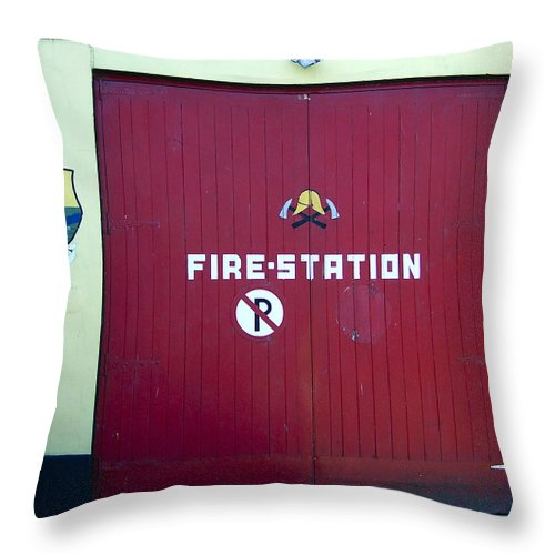 Irish Throw Pillow featuring the photograph Fire Door In Macroom Ireland by Teresa Mucha