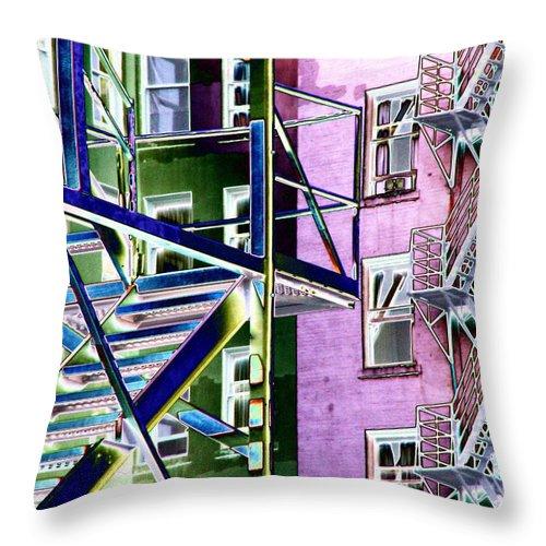 Fire Throw Pillow featuring the digital art Fire Escape 2 by Tim Allen