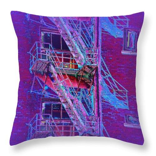 Fire Escape Throw Pillow featuring the photograph Fire Escape 4 by Tim Allen