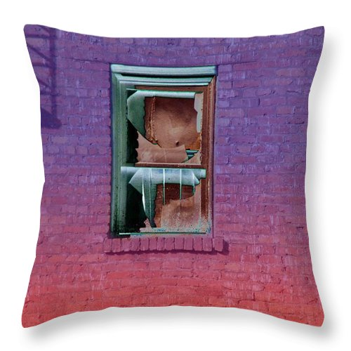 Architecture Throw Pillow featuring the photograph Fire Escape Window 2 by Tim Allen
