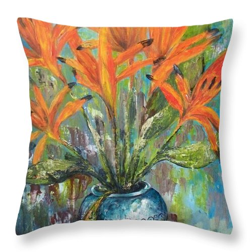 Throw Pillow featuring the painting Fire Flowers by Carol P Kingsley