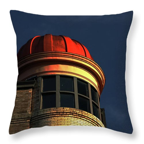 Building Throw Pillow featuring the photograph Fire Helmet Building by Karol Livote