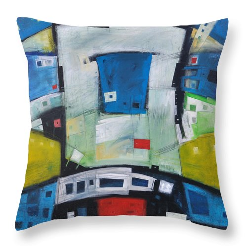 Abstract Throw Pillow featuring the painting Fire In The Belly by Tim Nyberg