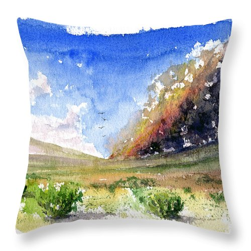Fire Throw Pillow featuring the painting Fire In The Desert 1 by John D Benson