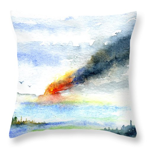 Fire Throw Pillow featuring the painting Fire in the Mountains by John D Benson
